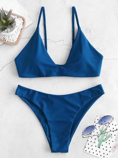 ZAFUL Tie Bralette Bikini Set - Blueberry Blue S