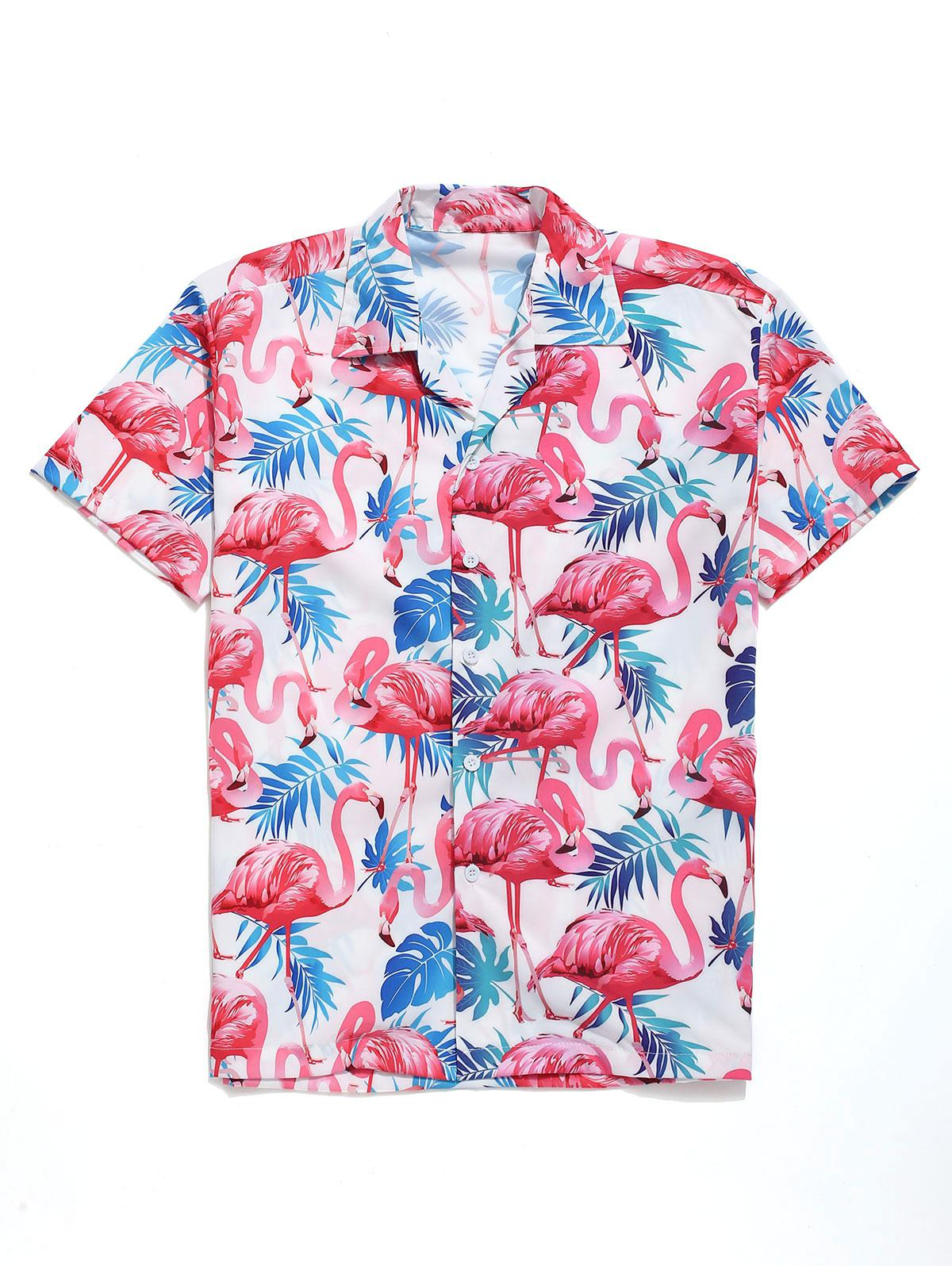 Tropical Leaves Flamingo Print Beach Shirt фото
