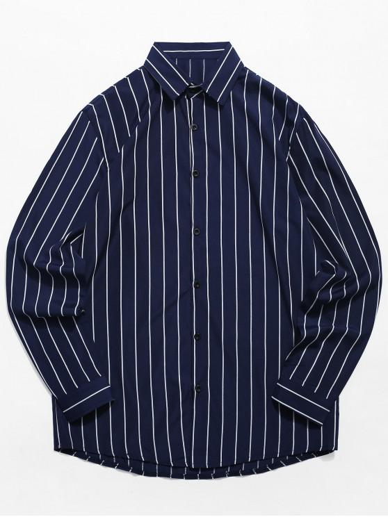 fashion Casual Long Sleeve Striped Shirt - CADETBLUE XL