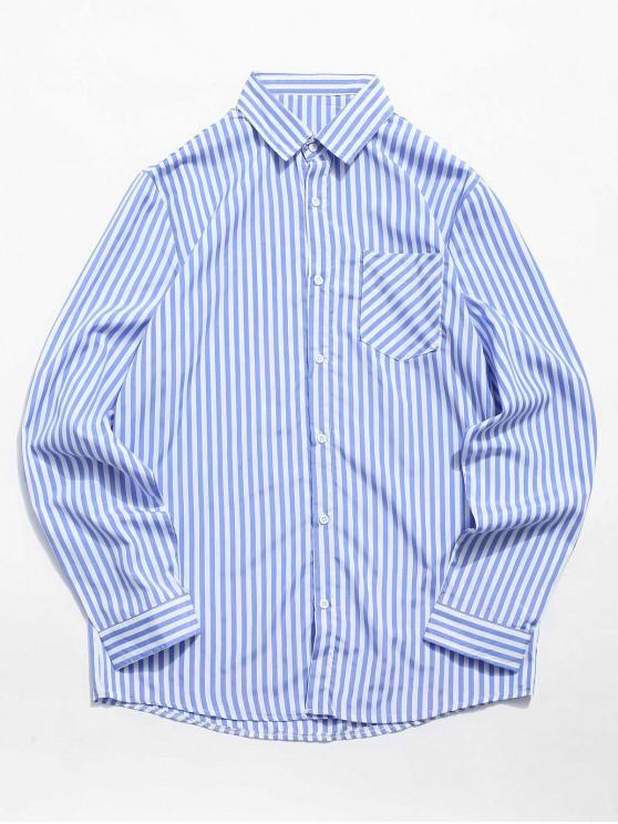 ladies Stripe Print Chest Pocket Shirt - CORNFLOWER BLUE L