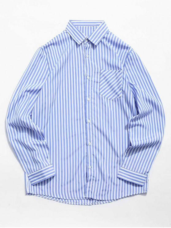women Stripe Print Chest Pocket Shirt - CORNFLOWER BLUE S