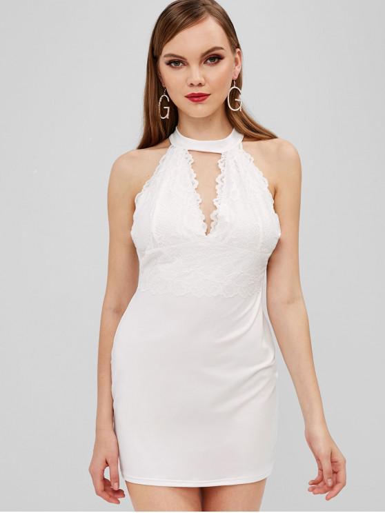 Bodycon - Kurzes Kleid mit Spitzenbesatz - Weiß L