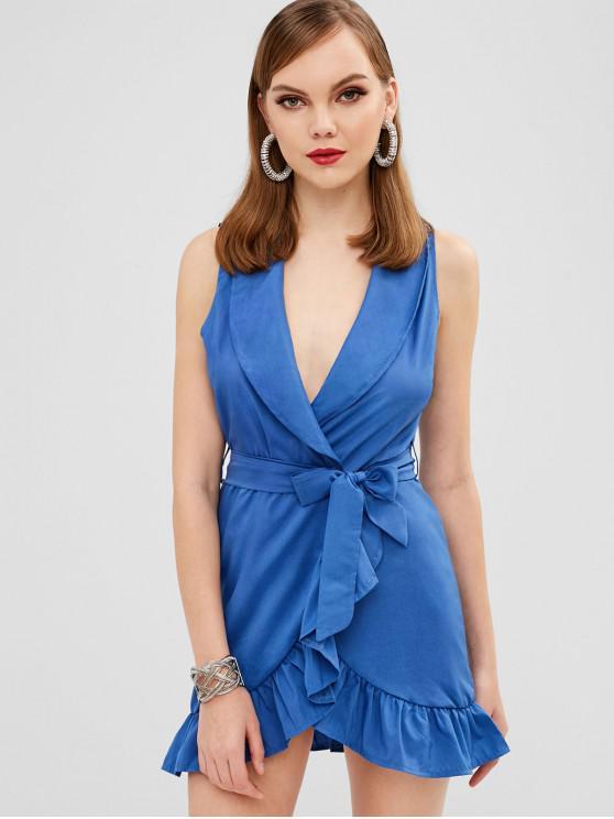 women's Belted Ruffled Wrap Short Dress - BLUE M