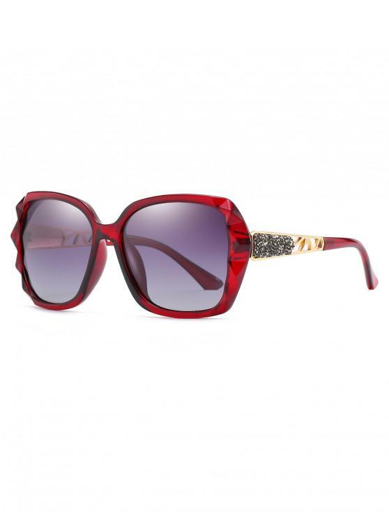 fancy Polarized Oversize Decorative Sunglasses - RED WINE