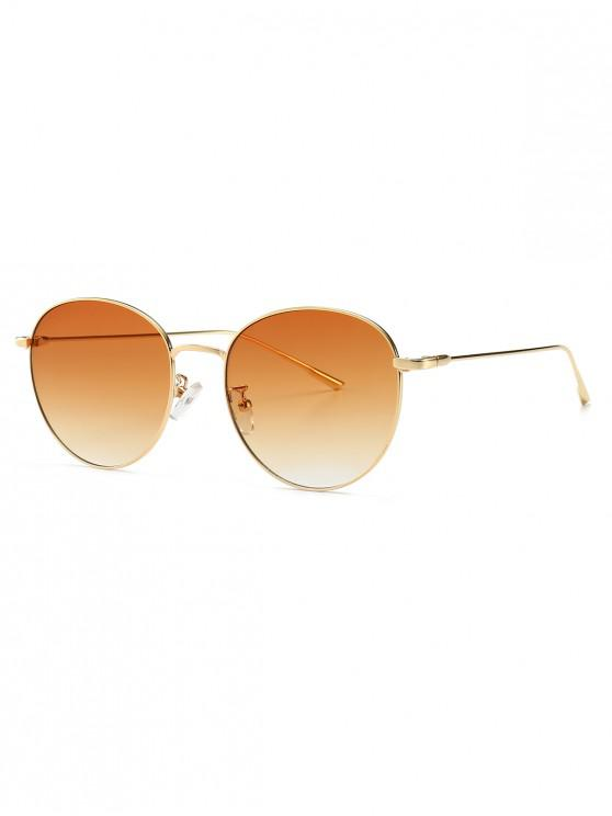 womens Round Metal Frame Sunglasses - LIGHT BROWN