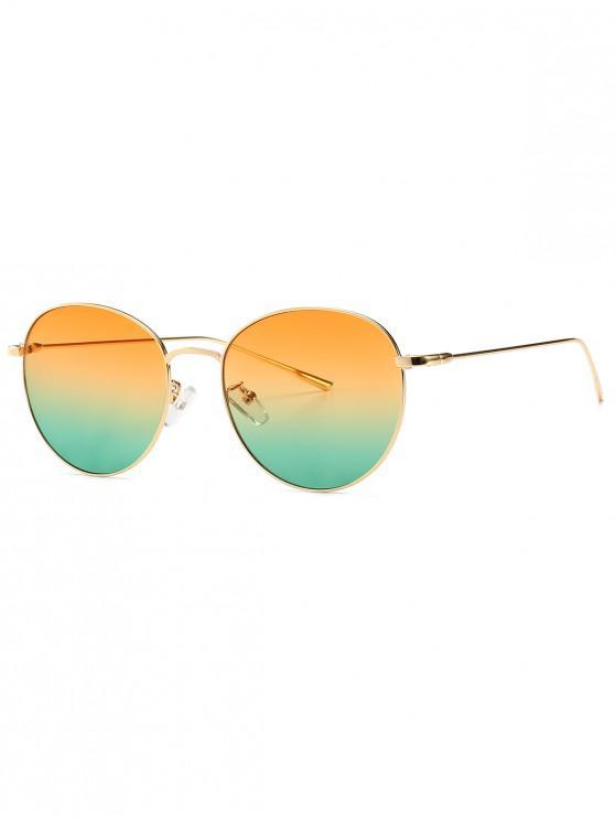 women's Round Metal Frame Sunglasses - YELLOW GREEN