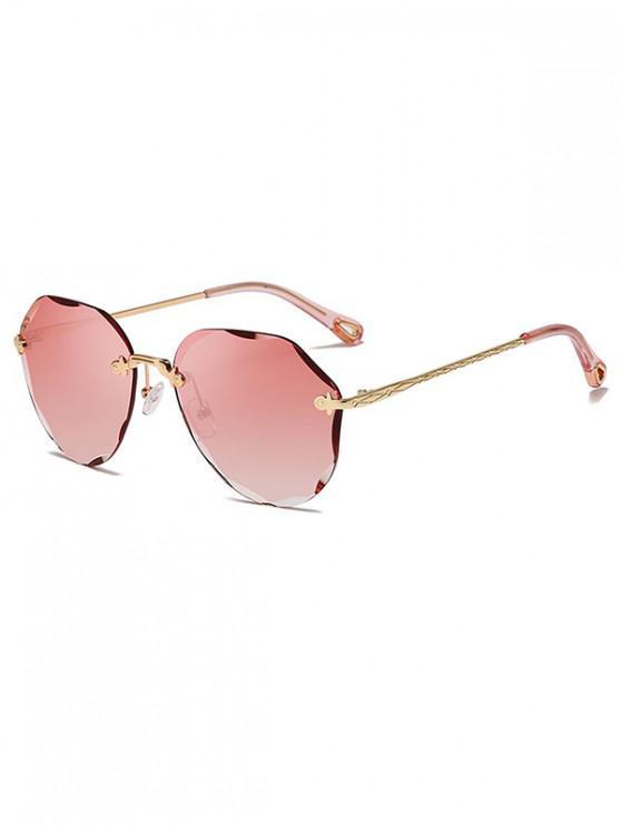 hot Rimless Irregular Carved Design Sunglasses - PINK