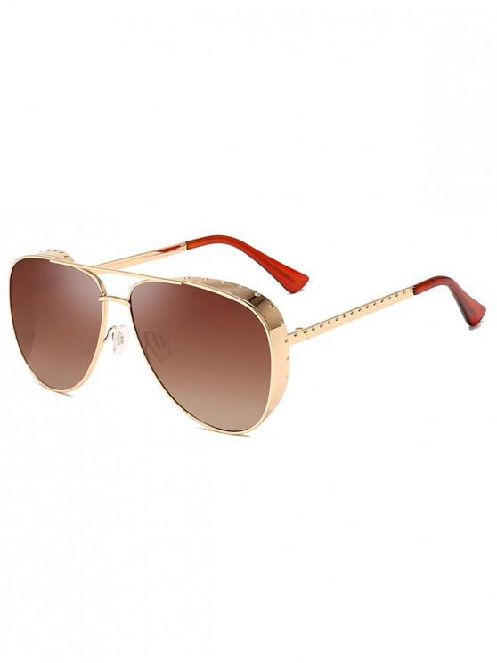 chic Stylish Pilot Metal Frame Oversize Sunglasses - CAMEL BROWN