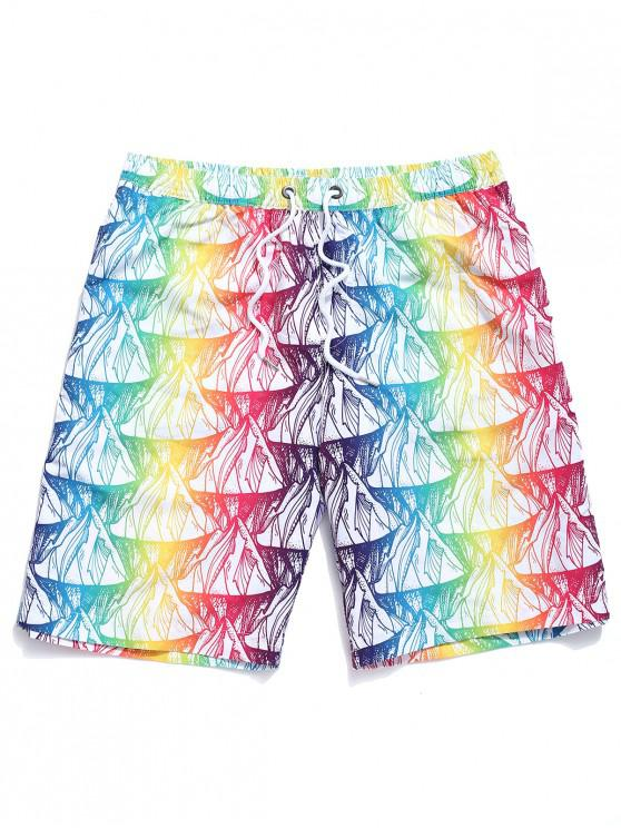 women's Colorful Ombre Painting Print Board Shorts - MULTI 2XL