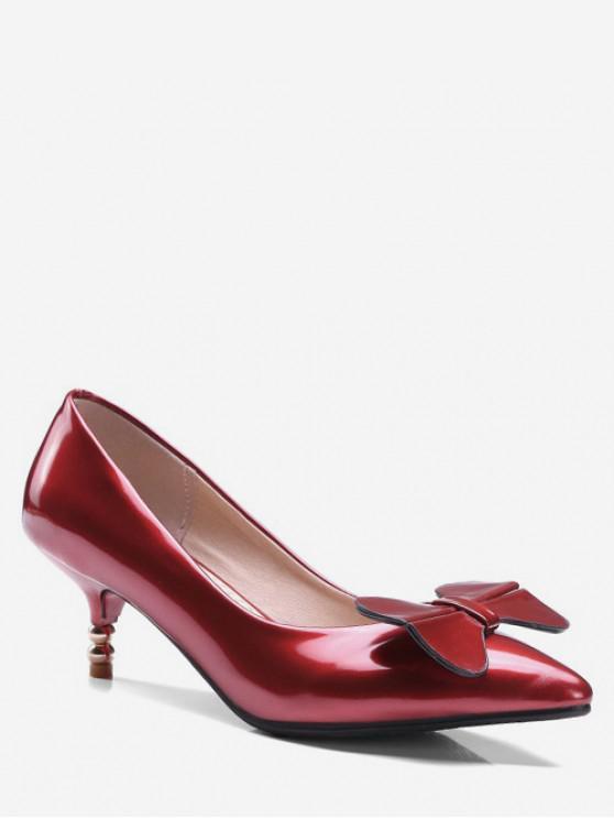 outfits Bowknot Design Kitten Heel Pumps - RED EU 43