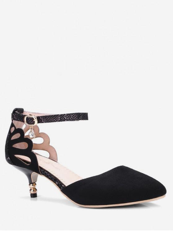 shop Suede Ankle-strap Kitten Heel Sandals - BLACK EU 39