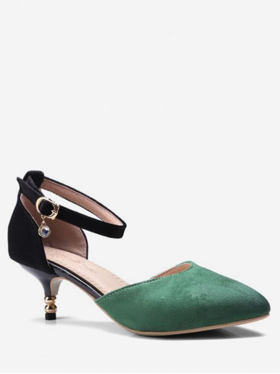fashion Suede Jointed Ankle-strap Low Heel Sandal - DEEP GREEN EU 38