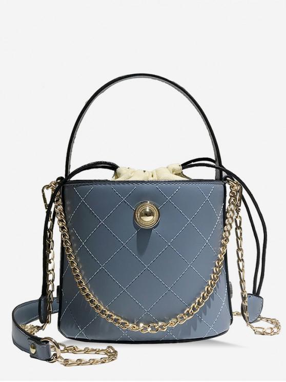unique Leather Grid Pattern Shoulder Bucket Bag - SLATE BLUE