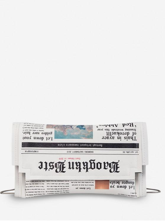 buy Small Newspaper Pattern Shoulder Bag - WHITE