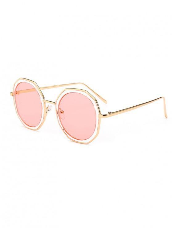 women's Round Anti UV Metal Sunglasses - PIG PINK