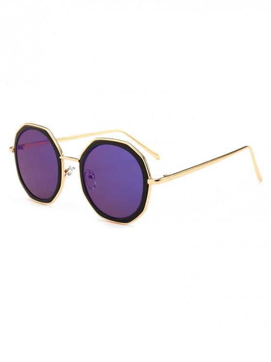 outfit Round Anti UV Metal Sunglasses - BLUEBERRY BLUE
