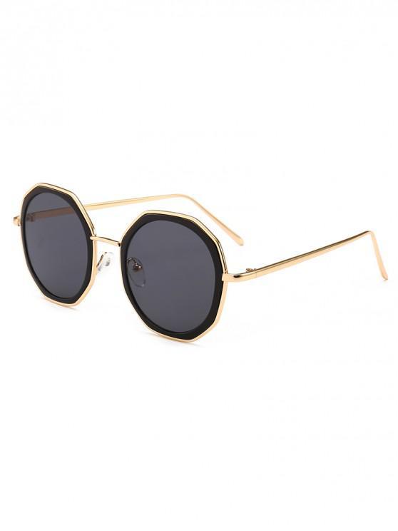 outfits Round Anti UV Metal Sunglasses - BLACK