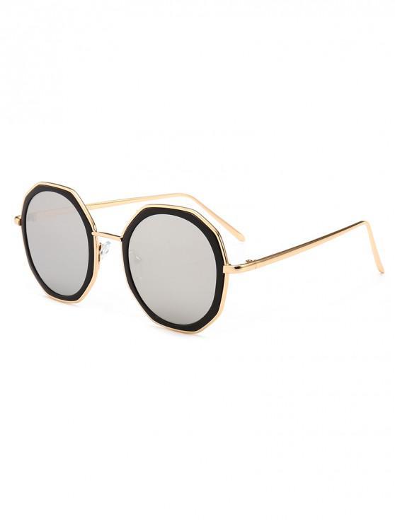 shops Round Anti UV Metal Sunglasses - SILVER