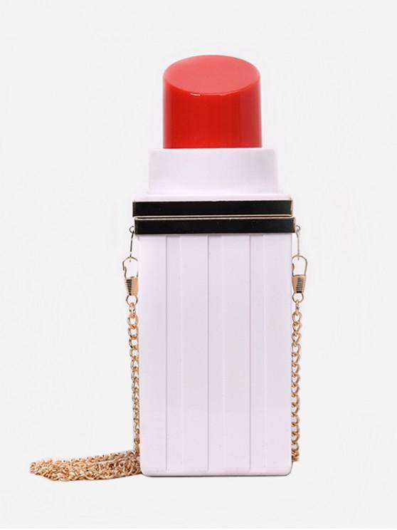 affordable Lipstick Shape PVC Hard Shoulder Bag - WHITE