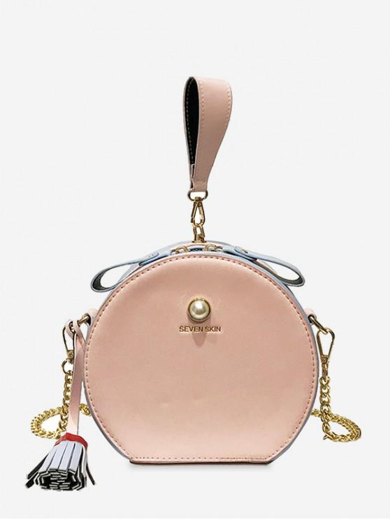 ladies Color Block Tassel Canteen Bag - PINK