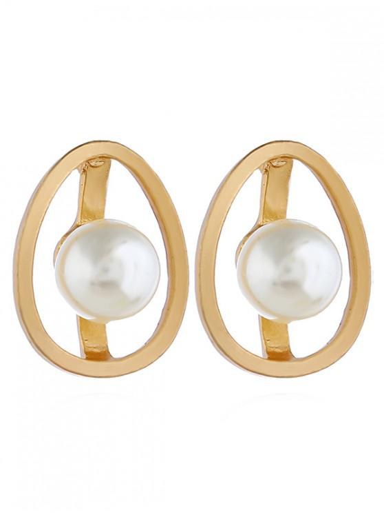 hot Faux Pearl Egg Stud Earrings - GOLD