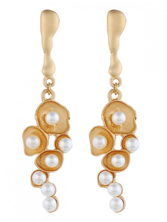 latest Faux Pearl Lotus Leaf Earrings - GOLD