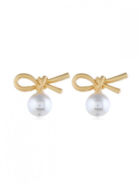 unique Faux Pearl Knot Earrings - GOLD