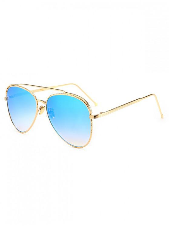 lady Metal Rim Pilot Sunglasses - LIGHT SLATE BLUE