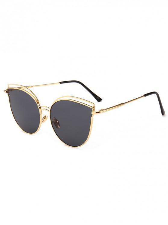 online Catty Eye Metal Frame Sunglasses - BLACK