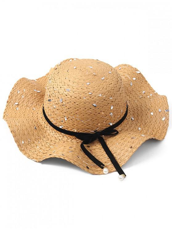 outfit Bowknot Sequin Straw Sun Hat - LIGHT KHAKI