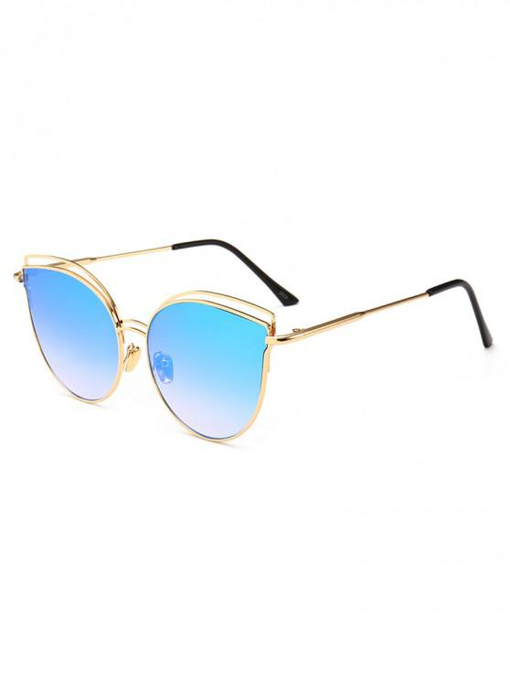 fancy Catty Eye Metal Frame Sunglasses - BABY BLUE