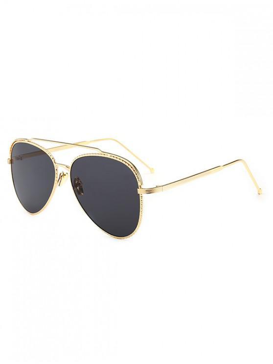 buy Metal Rim Pilot Sunglasses - BLACK