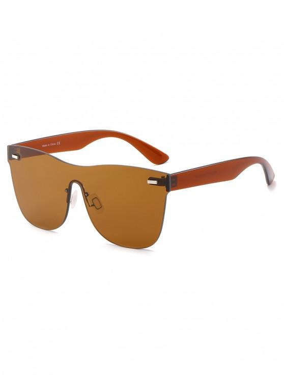 womens Outdoor Square Rimless Sunglasses - BROWN