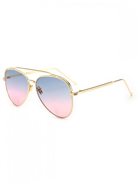 women Metal Rim Pilot Sunglasses - MULTI-A
