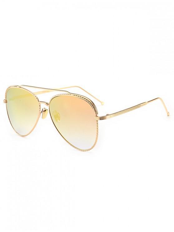 shop Metal Rim Pilot Sunglasses - ROSE RED