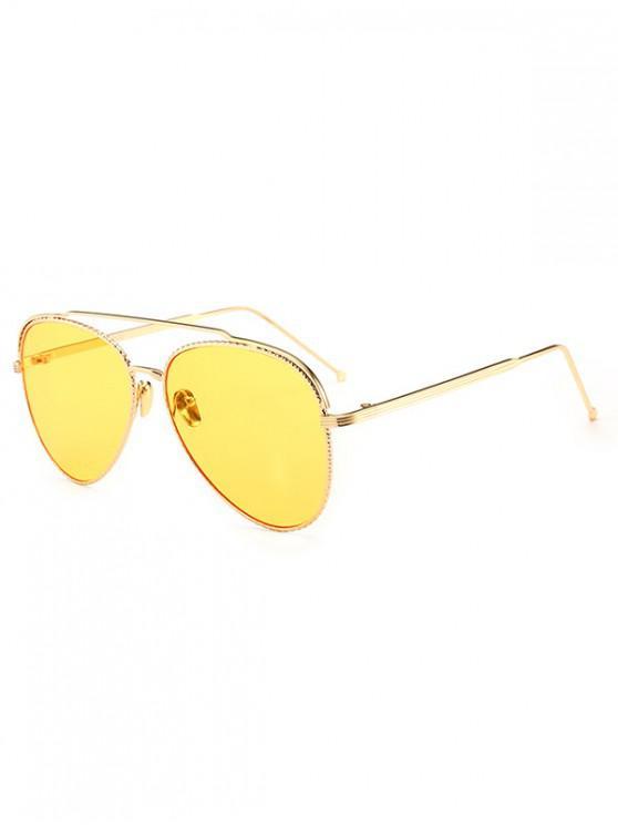 trendy Metal Rim Pilot Sunglasses - YELLOW
