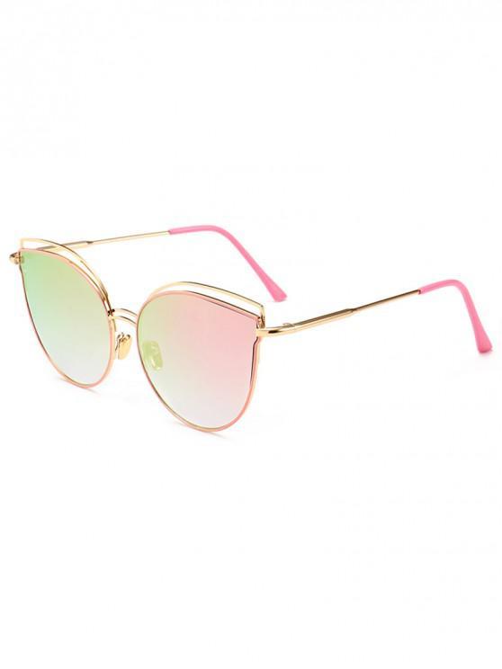fashion Catty Eye Metal Frame Sunglasses - MAGENTA