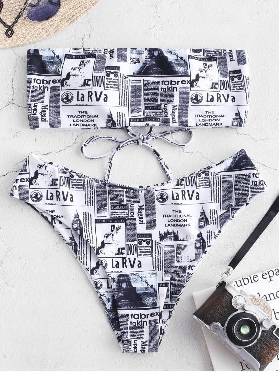 unique ZAFUL Newspaper Lace Up Bandeau Bikini Set - MULTI-A M