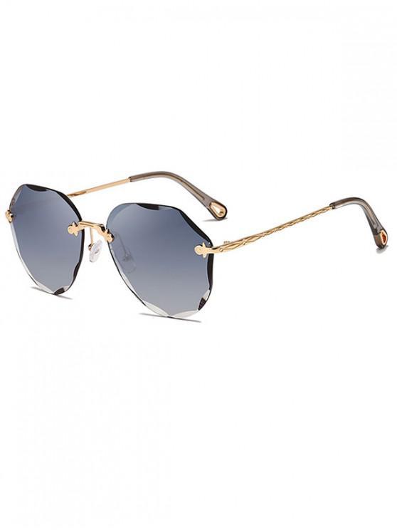 women's Rimless Irregular Carved Design Sunglasses - MIST BLUE