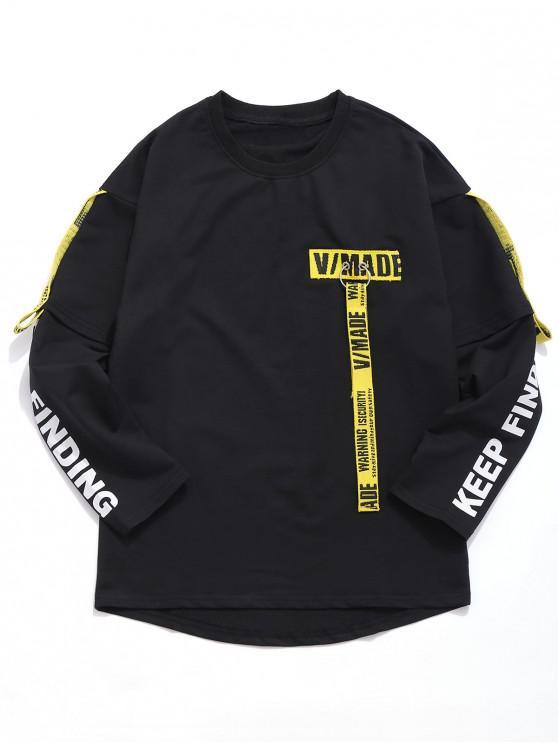 trendy Woven Belt Decoration Patchwork T-shirt - BLACK L
