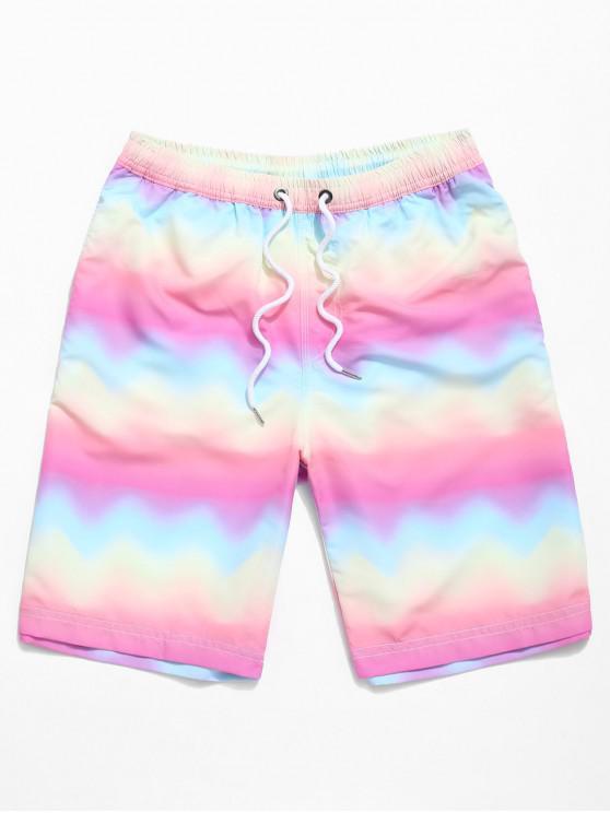 lady Ombre Rainbow Print Beach Shorts - MULTI XL