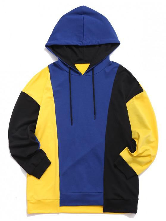 Sudadera con capucha de panel bajo bajo - Multicolor L