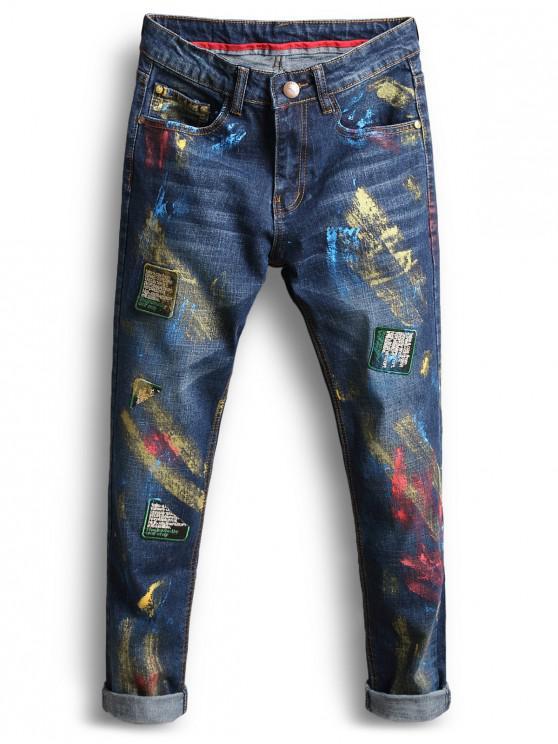 trendy Long Painting Print Applique Jeans - DENIM DARK BLUE 38
