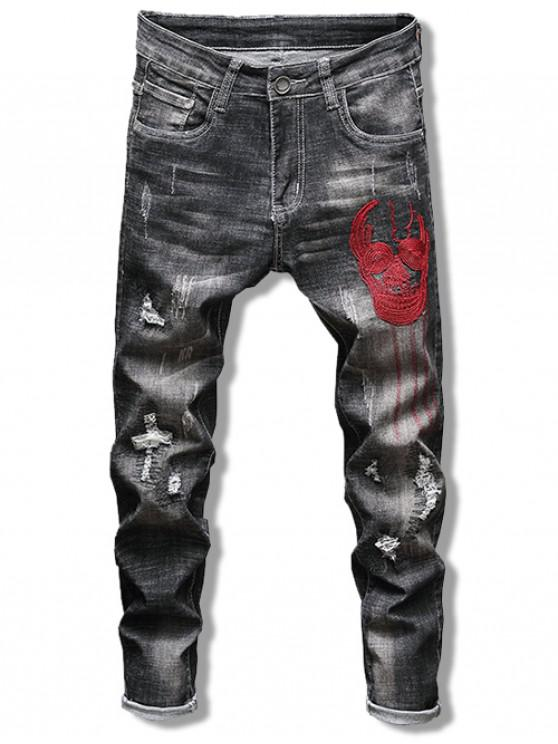 unique Embroidery Skull Print Ripped Denim Pants - NIGHT 38
