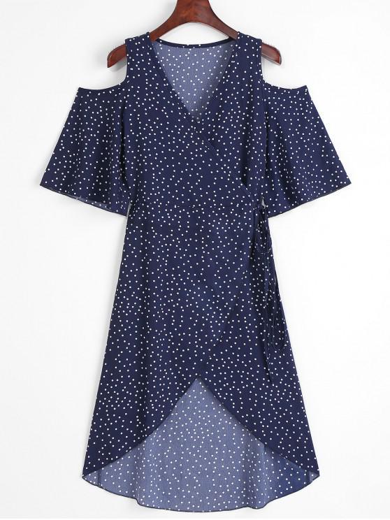 best Polka Dot Cold Shoulder Wrap Dress - DENIM DARK BLUE ONE SIZE