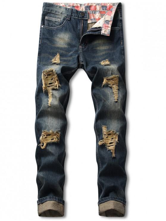 Camouflage Patchwork lange zerrissene Jeans - Dunkles Schieferblau 36