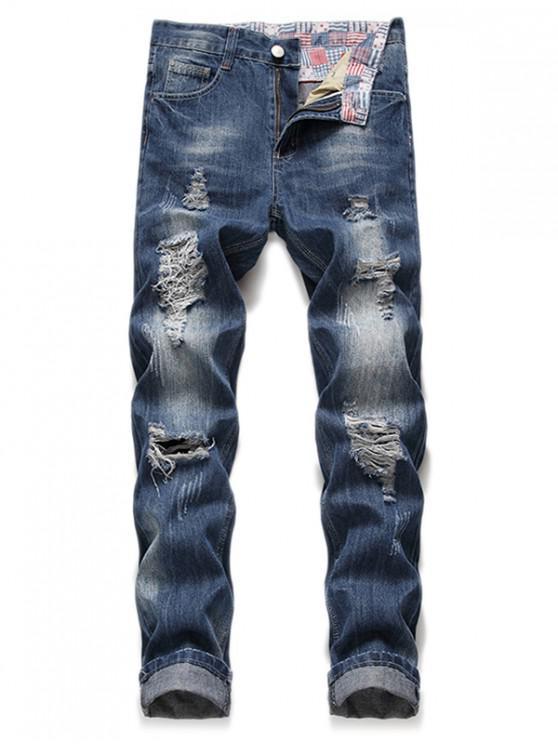 Verblasste Wash Long Casual zerrissene Jeans - Denim Dunkelblau 38