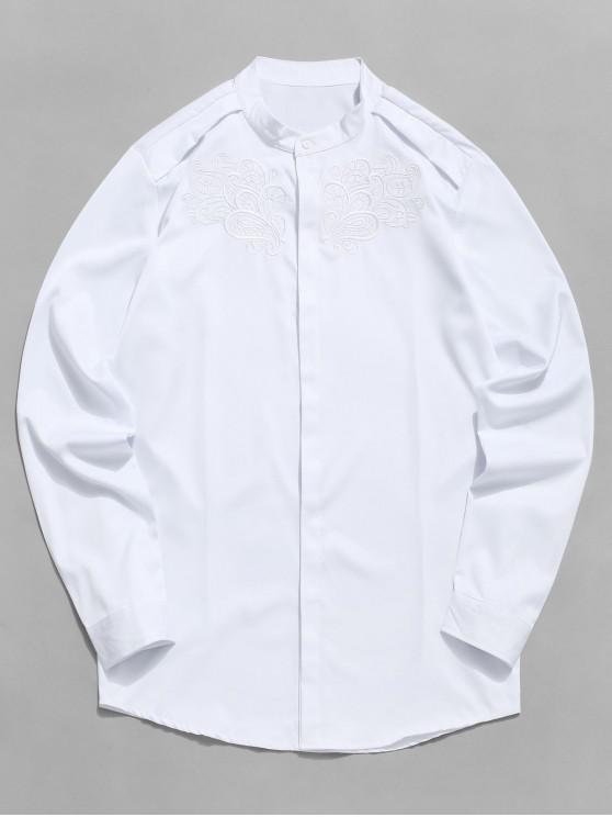 Camisa ocultada botón bordado floral del vintage - Blanco 2XL