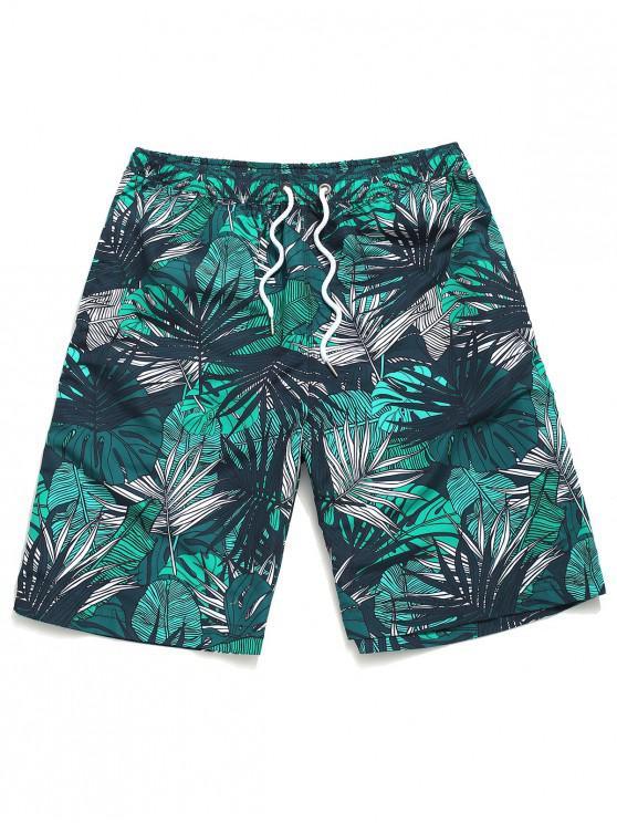 trendy Tropical Leaves Print Beach Shorts - MULTI M