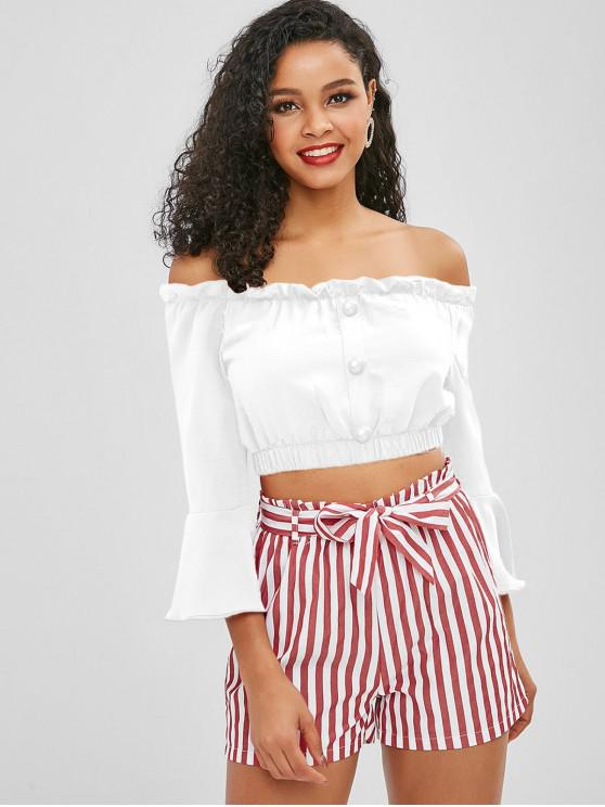 women ZAFUL Off Shoulder Buttoned Stripes Shorts Set - WHITE S